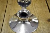 Large solid silver capstan inkwell, clear hallmarks, inscribed and dated 1927