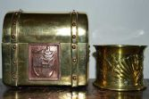 Antique 19th Century Art Nouveau brass and copper casket and spill holder, c1890