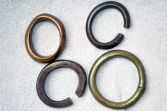 Four mid-20th Century African tribal bronze Manillas/currency bracelets, c1950