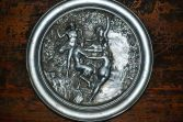 Fine antique pewter/cast metal decorative plate, Satyr and naked maidens, c1910