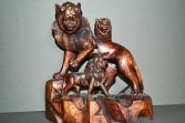 Antique early 20th Century Anglo Indian or Chinese wood carving of lions, c1910