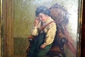 Antique 19th Century painting (oil on board) disconsolate boy mourning pet, c1880