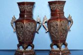 Pair antique 19th Century Chinese bronze baluster hexagonal shape vases, c1890