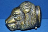 Antique 19th Century figural brass vesta case modelled as a lion, c1880