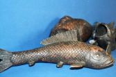 Five rare antique 19th Century Chinese or Japanese koi fish bronzes, c1820