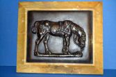 Antique 19th Century bronze plaque of a horse in marble/onyx frame, c1880