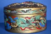 Rare antique 19th Century Chinese painted antimony (metal) decorative box, c1850