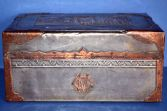 19th Century pewter/copper colonial box with oriental decoration, initials 'CM', c1880