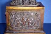 Antique 19th Century brass two-compartment tea caddy, hunting scene/cupids, c1850