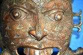 Large mid-20th Century African Tikar tribal bronze mask, great decoration, c1950
