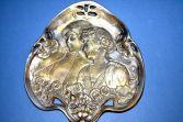 Antique late-19th Century Art Nouveau card tray, stylised decoration, c1890