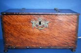Antique 18th Century/later French mahogany deed box, ornate brass fittings, c1750
