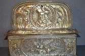 Antique 19th Century Dutch brass hanging candle box, embossed decoration, c1870