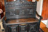 Antique 18th Century oak Flemish settle/coffer, hand-carved decoration, c1720