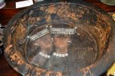 Large antique Russian christening bowl, handpainted iconographic art, c1820
