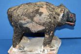 Rare 19th Century African pottery fetish pig, applied human/animal hair, c1890