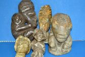 Five antique pre-18th Century Polynesian/Oceanic carved stone statues, c1700