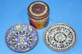 Items of antique decorative Russian metal/enamelware, great decoration, c1890