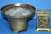 Antique Chinese brass bowl/censor and card/match box, c1920