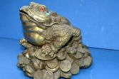 Large antique early 20th Century Chinese bronze money toad statue, c1920