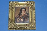 Antique 19th Century gilt /gesso framed Miniature, oil on wood panel, c1870