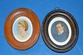 A pair of 19th Century framed miniature watercolours, full history/dates on rear, c1890