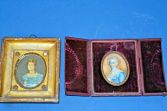 Two early 19th century Georgian portrait miniatures in original frame/Case, c1800