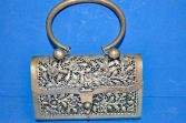 Antique pewter/white metal 19th Century Chinese decorative bag/purse, c1890