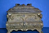 Antique 19th Century French Art Nouveau gilt metal casket, ornate decor, c1880