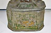 Georgian antique lead tobacco jar, tavern decoration, dog finial on lid, c1800